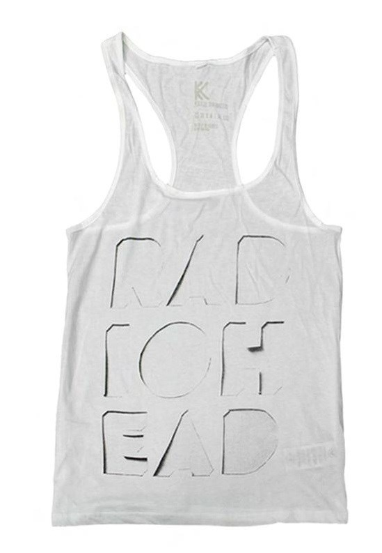 RADIOHEAD - CUT OUT LOGO WHITE TANK - גופייה