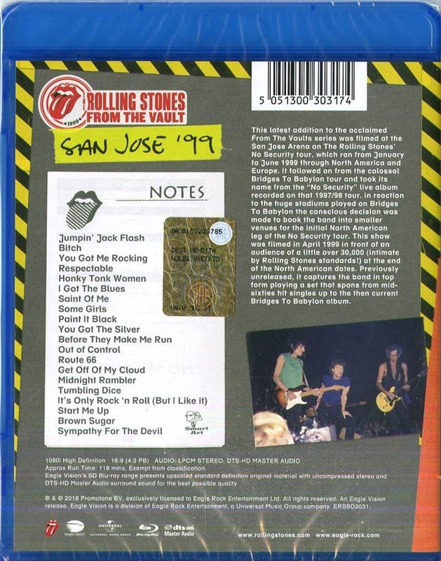 THE ROLLING STONES - From The Vault: No Security. San Jose '99 [Blu-ray]
