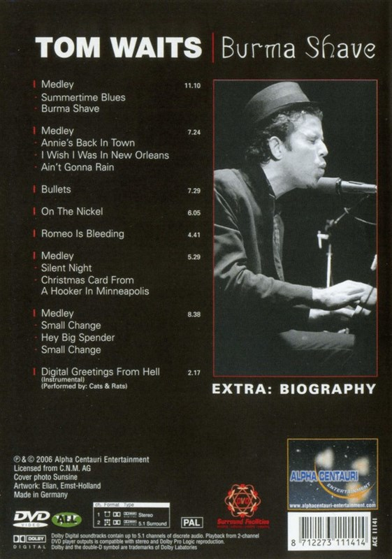 TOM WAITS - Burma Shave - DVD